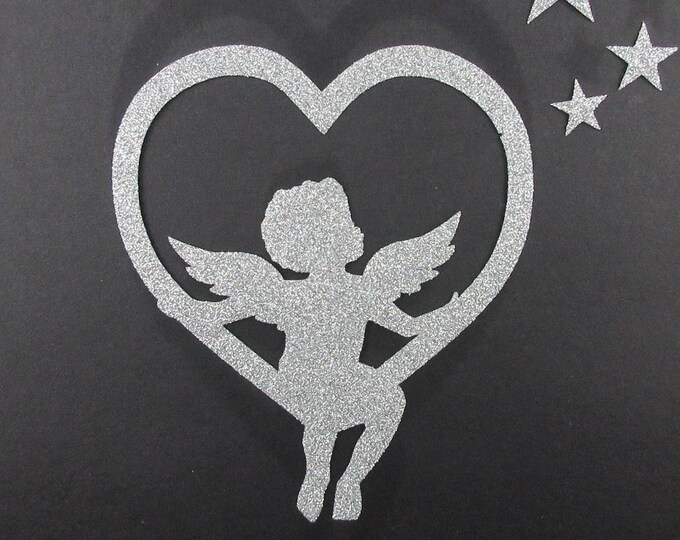 Applied silver suspended in a glittery heart in flex Ange fusing patch pattern Angel fusible iron-on glitter iron on angel