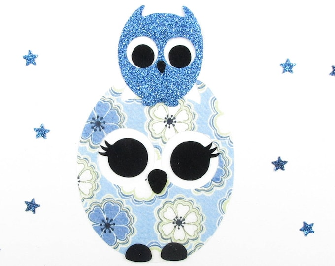"""Applied fusing owls """"My treasure"""" liberty Toria flex blue glittery patch slip fusible iron-on appliques"""