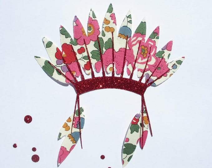 """Applied fusible Indian feathers liberty Betsy pink + glitter flex """"Indian headdress"""" fusible pattern Indian iron-on patch"""