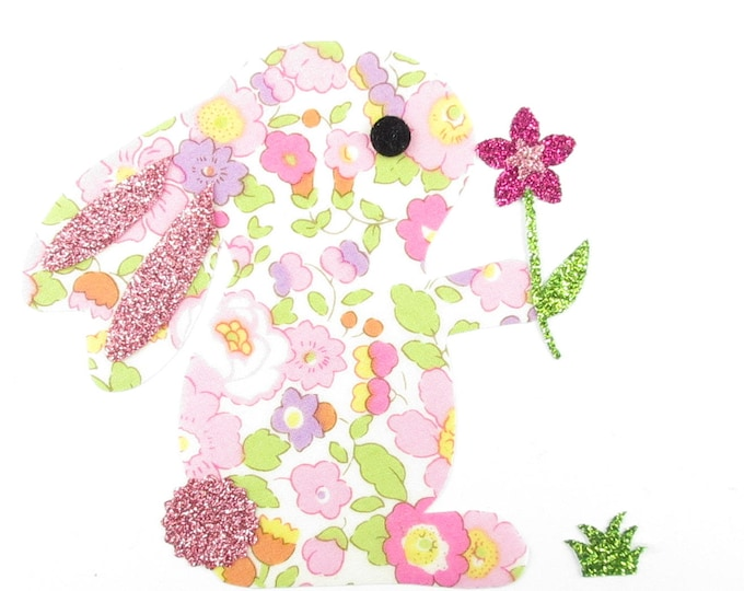 Applied fusible liberty liberty Betsy pink & flex sequined applique liberty Bunny flower patch pattern iron-on fusible patch