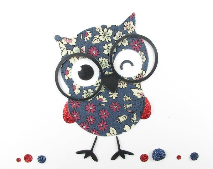Applied fusing OWL Japanese fabric liberty, fusing liberty coat liberty patch iron on liberty fabrics