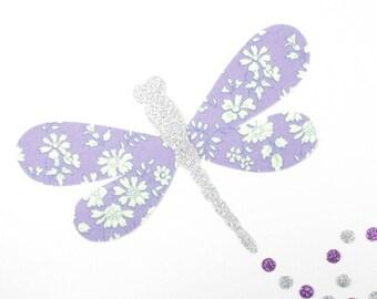 Fusing liberty coat liberty patch iron iron on liberty fabrics applied fusible XL liberty Capel purple Dragonfly.