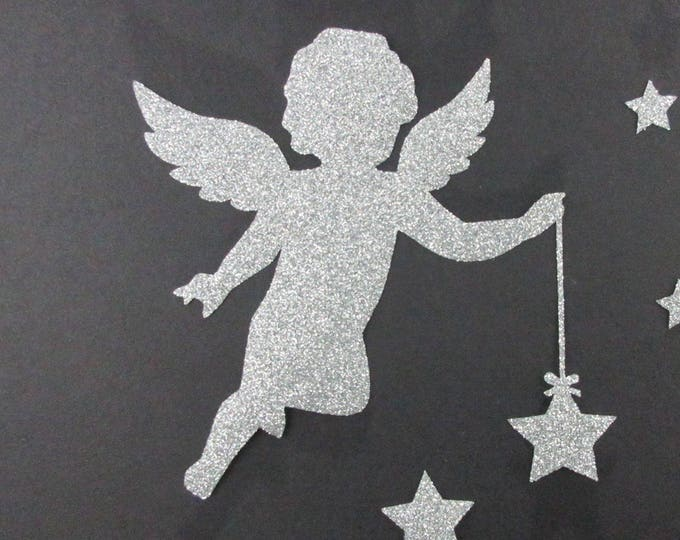 Applied fusing Angel silver glittery fabric (colors) applique Angel sequin patch badge iron angel iron on