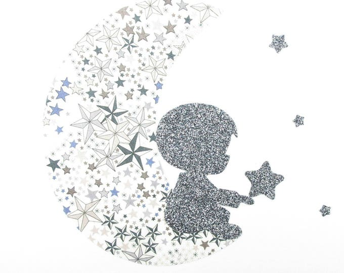 Applied fusible liberty Adelajda gray + glitter flex boy on a moon & stars patch pattern iron-on fusible patch