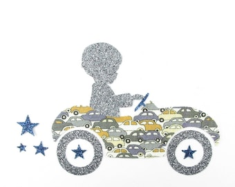 Applied shape in your little boy and car liberty grey Cars, fusing liberty coat liberty patch iron iron on