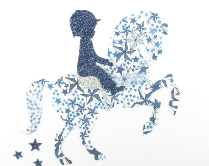 "Applied fusing small boy on his horse ""Little jumper"" fabric liberty Adelajda blue, and flex sequined applique liberty"