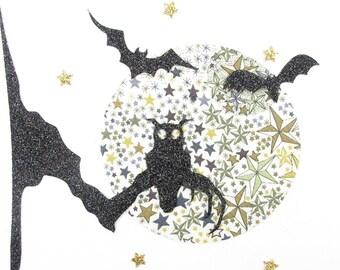 Applied fusible OWL Halloween bat Moon liberty Adelajda Brown flex glittery liberty fusible applique patches