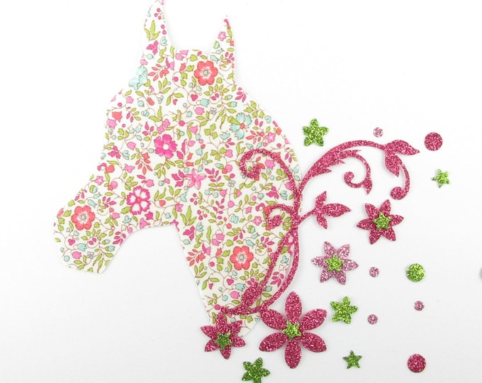 Applied fusible liberty horse Katie and Millie fabric flowers + mint glitter Thermo pattern liberty horse iron-on patch