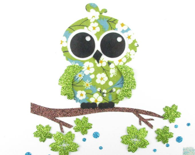 Applied fusible OWL liberty Mitsi green fusing liberty coat liberty patch iron iron on liberty fabrics