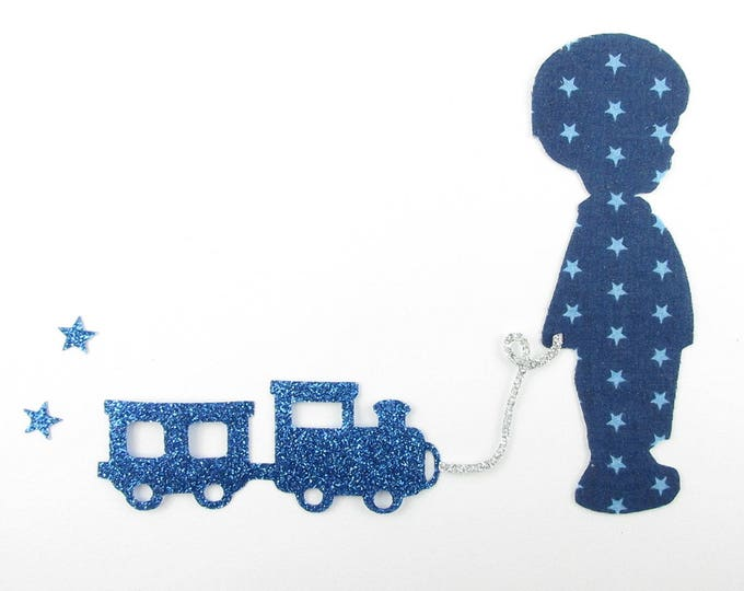 Applied fusible little boy and train in blue fabric and fabric glitter blue, liberty coat patch iron iron on liberty fabrics