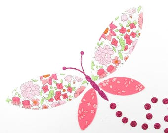 Applied fusing Anjo Capel and pink liberty Butterfly coral fusing liberty patch iron iron on liberty fabrics