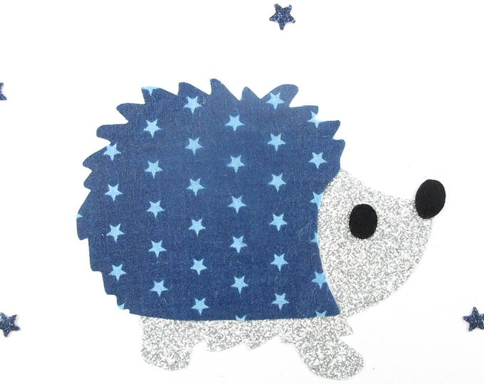 Applied fusible Navy Blue Star fabric Hedgehog and flex glitter patch iron on applique Hedgehog motifs fusing patch