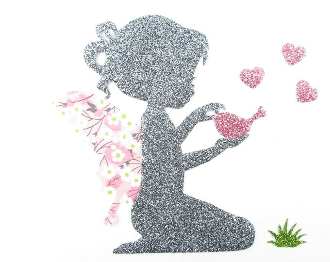 Iron on patch applique fusing fairy and liberty Mitsi Valeria pink bird Orchid, iron on liberty fabrics