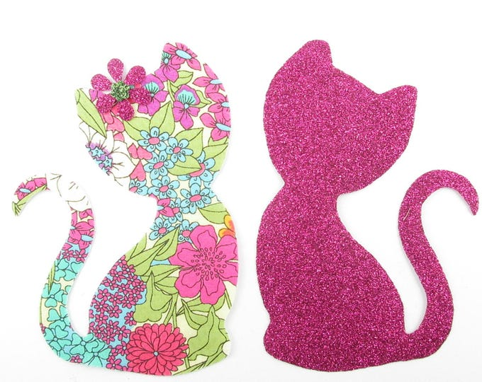 Applied fusing cats in love liberty Ciara summer flex sequined applique liberty fusible cat patch iron on patch cat