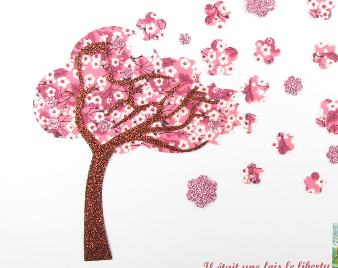 """Patch to iron applique tree """"Cherry blossom"""" in liberty Mitsi valeria pattern pink fusing fusible applique liberty"""