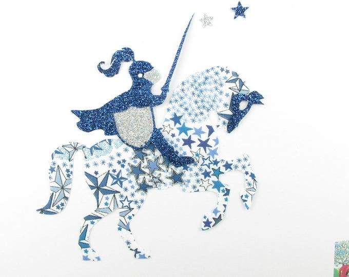 Applied fusing Knight & horse liberty Adelajda blue and liberty heat-sealed glitter iron on patch applique