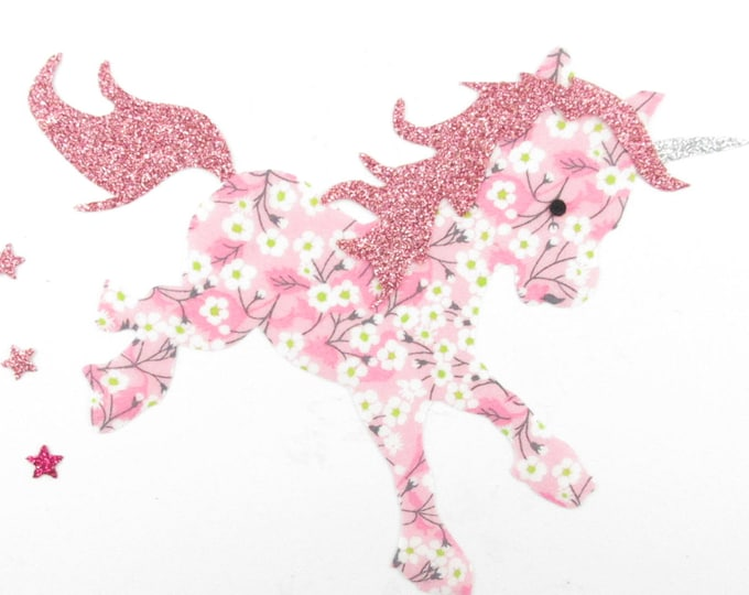 Applied fusible Unicorn, liberty applique, iron on patch, badge, Unicorn, liberty Mitsi valeria Orchid glitter flex