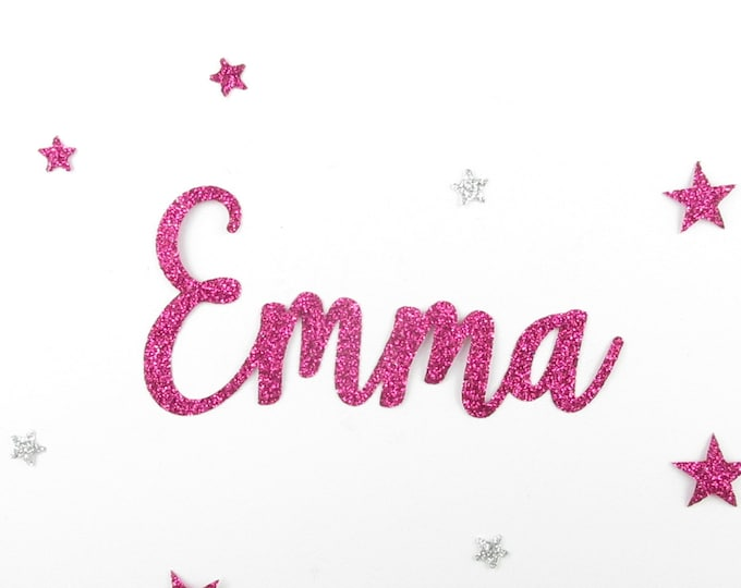 Applied fusible customizable glitter name of 4 letters (example, Emma) glitter fabric (colors)