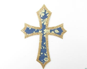 Applied fusing cross communion medieval liberty Capel Blue Navy & flex glitter patch iron on patch seamless pattern