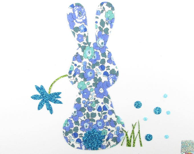 Patch iron on fusible liberty Betsy Ann Blue Rabbit + flex sequined applique liberty Bunny pattern patch rabbit iron on