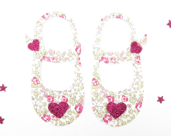 Applied fusing shoes girls slippers baby liberty Eloise pink flex glitter Thermo liberty applique patch