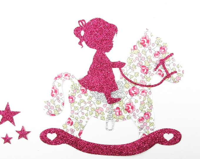 Applied fusing flex and little girl on her rocking horse in liberty Eloise pink sequined applique liberty horse patches