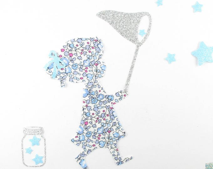 "Applied fusing girl ""hunting Star"" fabric liberty liberty Eloise pastel blue glitter flex fusible applique"