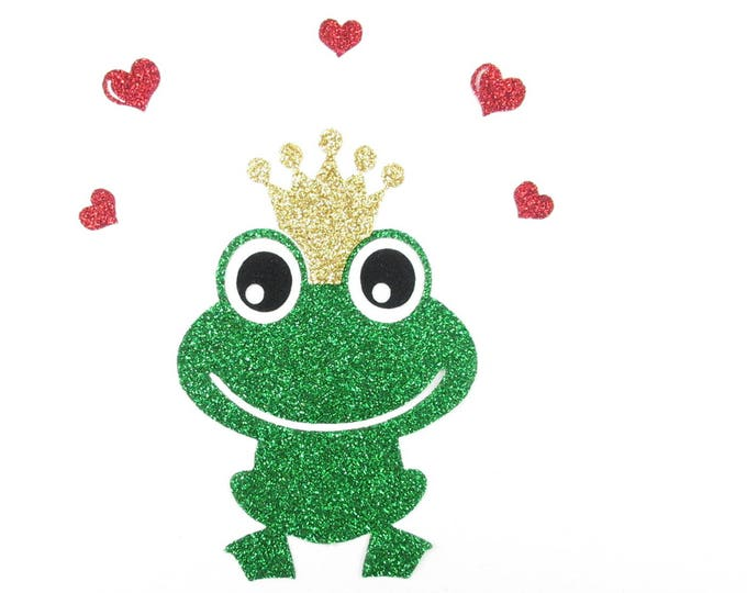 Applied glitter frog fabric fusing green patch iron on fusible pattern sequin coat sewing pattern