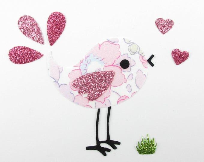 Applied fusing bird small Peacock liberty Betsy pink blotter flex sequined applique liberty fusing patch iron on patch