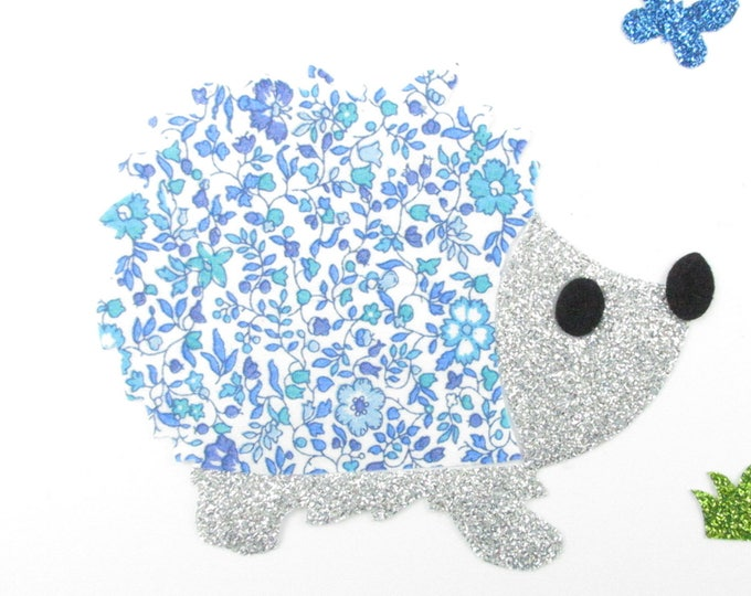 Applied fusing Hedgehog liberty Katie and Millie blue and glitter flex silver patch iron on fusible slip