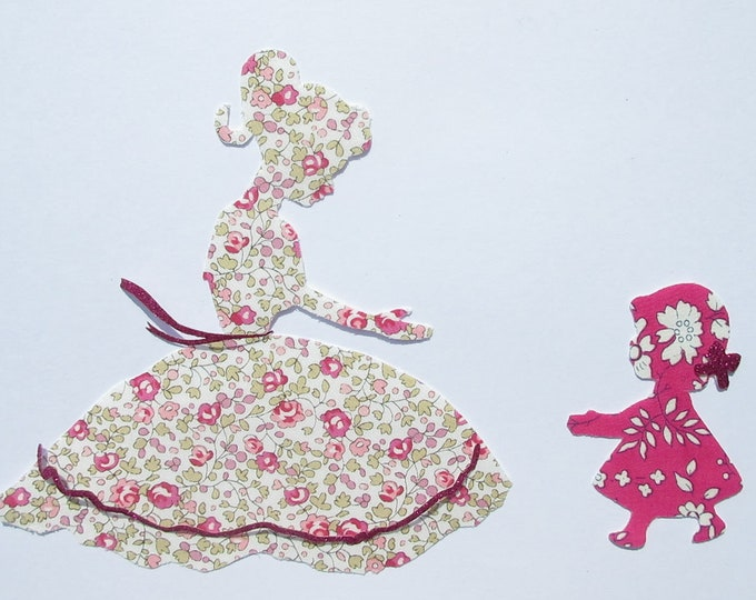 Applied fusible mother child flex Eloise liberty fabric baby girl glitter patch iron on fusible applique liberty