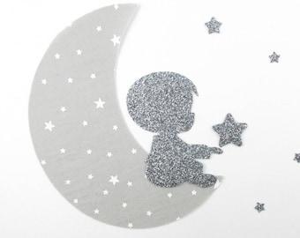 Applied fusing boy 1 moon + stars in light gray fabric & flex glitter coat fusible iron-on patch motif