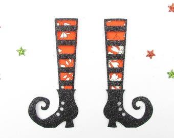 Applied fusing liberty orange flex Cape glitter witch shoe applique patch iron Halloween witch pattern