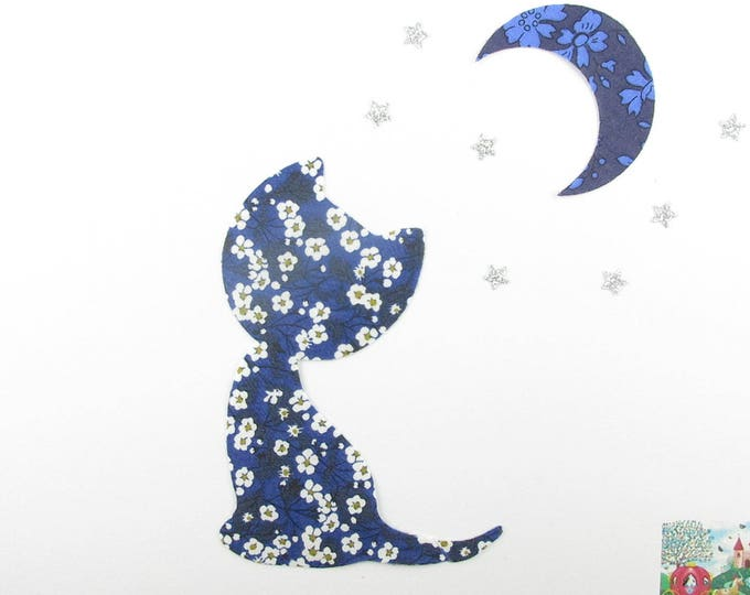 Applied fusible cat in the Moonlight liberty Mitsi valeria Capel & Midnight Blue indigo patch iron on fusible applique liberty