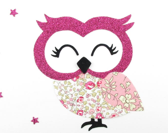 Applied fusible fabric OWL liberty Eloise pink & Capel pink glitter flex fusible patch iron on applique owls liberty