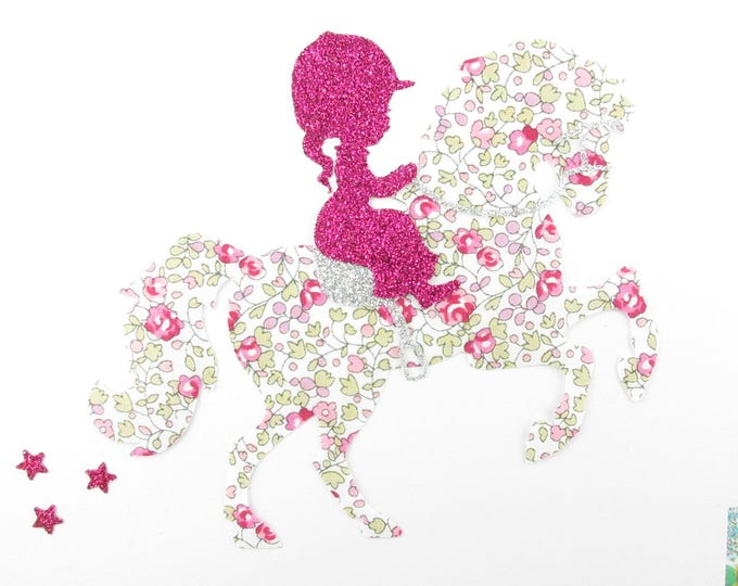 "Applied shape in your little girl ""Little rider"" liberty Eloise pink and glitter flex fusible liberty horse applique"