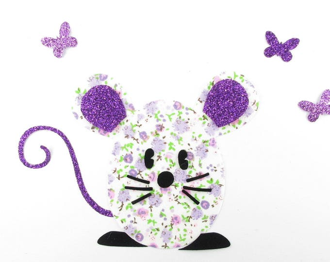 Applied fusing mice and butterflies in liberty purple fabric glitter patch pattern mouse liberty applique iron-on fusible