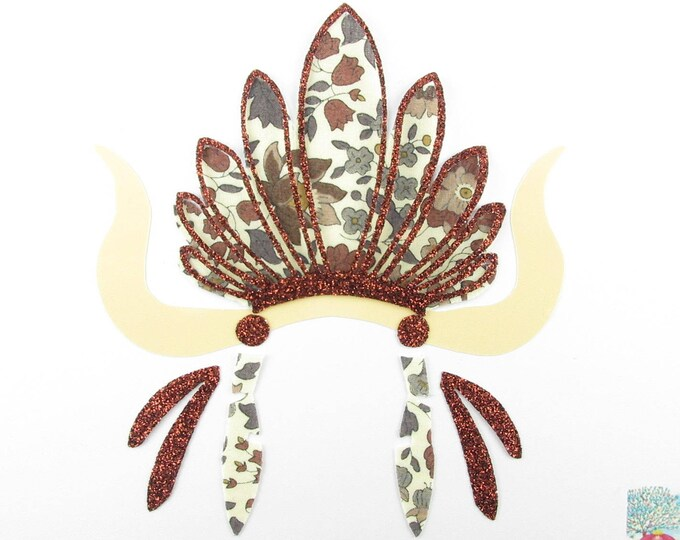 Applied fusing Indian headdress of liberty of Brown & fabric Anjo Sioux Chief glitter iron on patch Indian fusible pattern