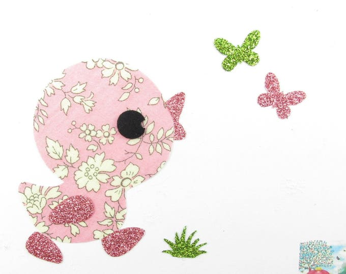 Applied fusing duck fabric liberty Capel rose flex glitter patch liberty applique iron-on fusible decal badges