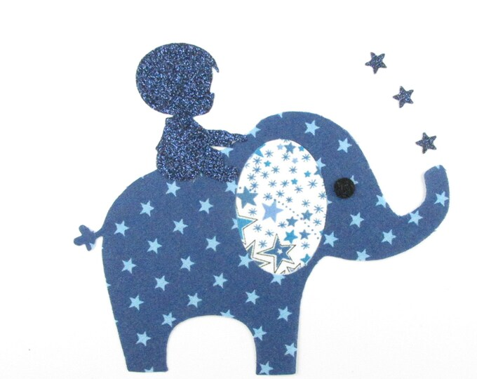 Applied shape in your little boy on an elephant fabric liberty Adelajda blue and Navy Blue Star applique liberty boy badges