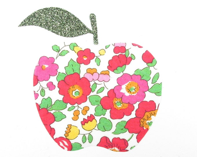 Applied fusible liberty Betsy grenadine red fabric glittery green patch fabric Red Apple iron iron on apple liberty fabrics