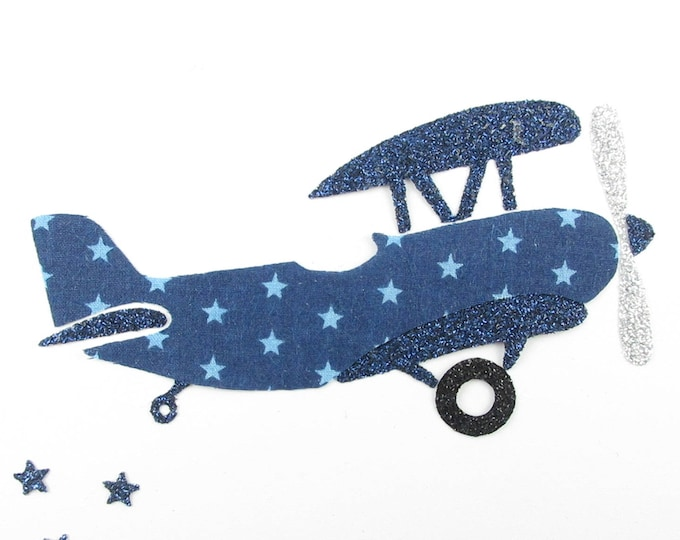 Iron on patch applique fusing airplane in Navy blue fabric star appliqué plane pattern fusible airplane plane badge patch