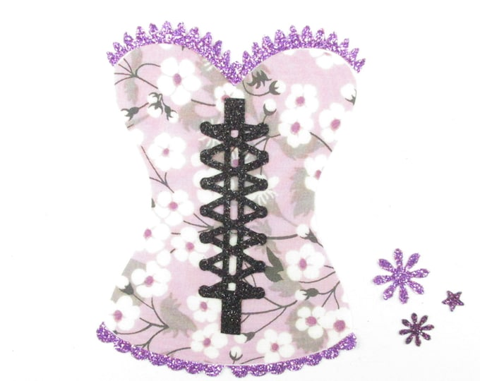 Applied fusing Bustier corset fabric liberty Mitsi flex purple glittery patch iron on applique lingerie pattern liberty woman