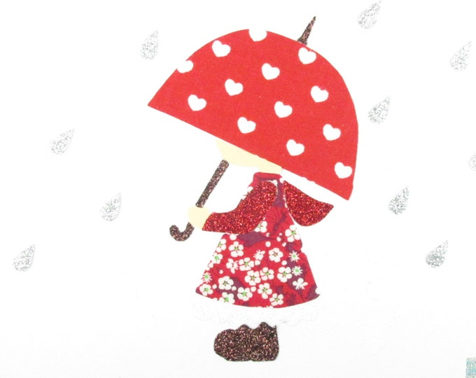 Applied fusible girl umbrella fabric liberty Mitsi valeria fabric red sequined patch iron little rain girl