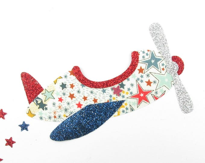 Applied fusing plane liberty Adelajda multicolored glitter flex liberty plane applied fusible pattern iron on patches