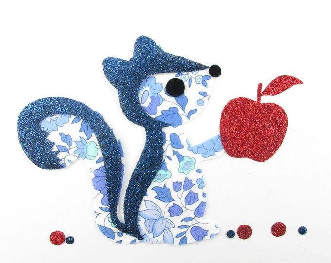 Applied squirrel Anjo blue liberty fabric, fusing fusing liberty badge patch iron iron on liberty fabrics