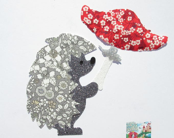 Applique liberty fusing Hedgehog and mushroom June's meadow collection liberty grey and glitter flex fusible patterns