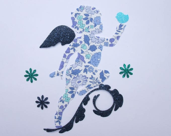 Applique liberty fusing with blue flex Anjo glittery pattern Angel & bird patch iron on patch applique Angel angel iron on pattern