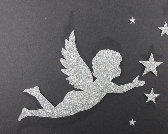 Applied fusing Angel and stars silver Flex glitter patch iron Angel sequin applique patch seamless pattern