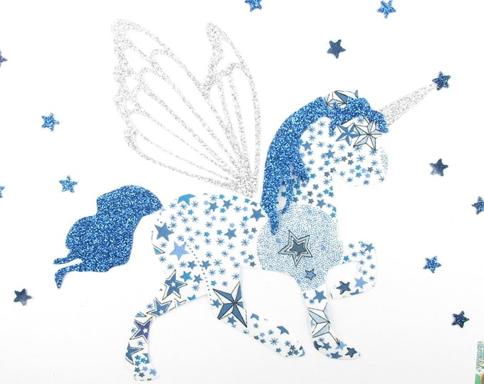 Applied fusing Unicorn in liberty Adelajda blue & glitter flex patch fusible iron fusible liberty Unicorn